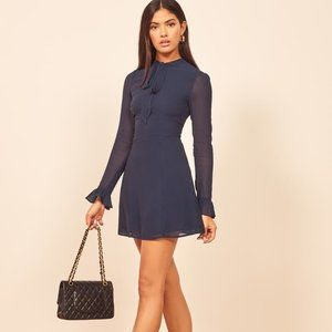 NWT Reformation Navy Blue Tie Long Sleeve Dress 8